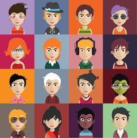 Set av människor avatarer med bakgrund
