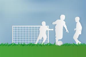 Fotbollsspelare på grönt gräs vid stadsbyparken. papper konst stil. vektor