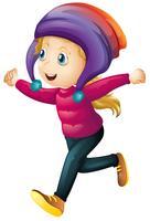 Tragende Winterkleidung des glücklichen Mädchens