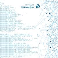 Blaues Musterpixel der abstrakten quadratischen digitalen Daten der Technologie mit Linien schließen Punkte auf weißem Farbhintergrund an.
