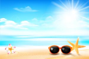Solglasögonstjärna fisk och blomma i sandstranden 001 vektor