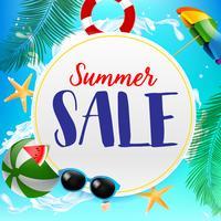 Sommerschlussverkauftitel auf weißem Kreis 002
