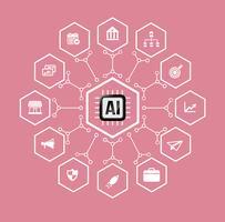 AI Künstliche Intelligenz Technologie für Geschäfts- und Finanzikone und Gestaltungselement vektor