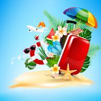 Offener Gepäckreisekoffer des Flugzeugs mit Starfishblumenpalme 001