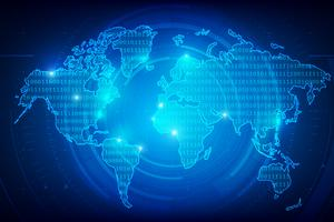 Abstrakt bakgrund världskarta binär siffra konsistens 001