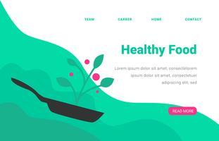 Landing Page Gesundes Essen Mit Pfanne vektor