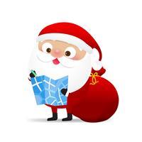 Glückliches Weihnachtscharakter Weihnachtsmann-Karikatur 006 vektor