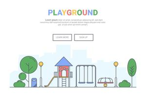 Liggande lekplats på offentliga park koncept. design för teman målsida webbplats. Din linjekonst.