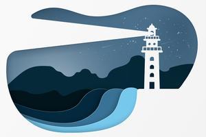 Modern byggnads fyr. natt seascape koncept. Papperskonst stil.