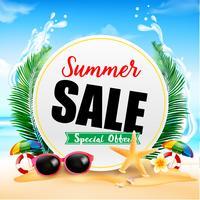 Sommarförsäljning på vit cirkelram 001 vektor