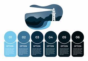 Geschäft Infografik. Infografiken Diagramm mit Leuchtturm Papierkunst. Vorlage für die Präsentation.