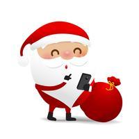 Glückliches Weihnachtscharakter Weihnachtsmann-Karikatur 004 vektor