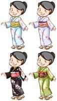 Eine einfache Skizze der Mädchen, die das asiatische Kostüm tragen