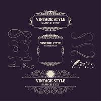 Vintage Decorations Element och ramar. Retro Style Design Ny samling för inbjudningar, banderoller, affischer, vykort, märken