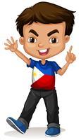 Filippinsk pojke hälsning och ler