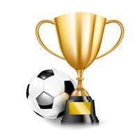 Pokale der goldenen Trophäe 3D und Fußball 002