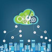 Cloud computing-teknik. Kreativ molnbakgrund för företag.