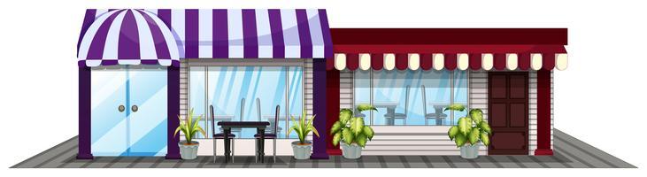 Två affärer i lila och rött