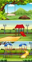 Tre scener av park och lekplats