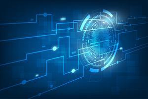 Abstrakter Technologie-Hintergrund. Technologie digitale Welt der Geschäftsinformationen. futuristische blaue virtuelle grafische Oberfläche. vektor