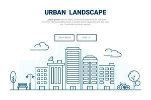 Landschaftsgebäude auf Stadtkonzept. Design für städtisches Stadtbild Thema Landing Page Website. Deine Linie Kunst.