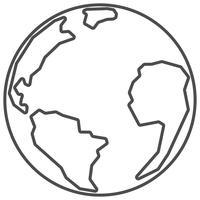 Planet Erde. Dünne Linie. vektor