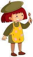 Kleines Mädchen mit Schürze und Pinsel
