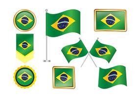 Brasil Flagga Clipart Set vektor