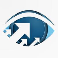 Auf der Suche nach Möglichkeiten. Geschäftsvisionswachstum auf Augenkonzept. Papierkunststil.