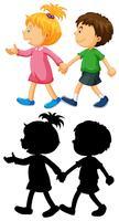 Jungen und Mädchen Hand in Hand