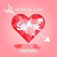 Valentinstag-Verkaufshintergrund mit Aquarellspritzen im Herz- und Pfeilamor. Konzept Liebe und Valentinstag, Papierkunstart.