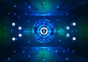Sicherheitskonzept, geschlossenes Vorhängeschloß auf digitalem, Internetsicherheit, blaue abstrakte hallo Geschwindigkeitsinternet-Technologievektor-Hintergrundillustration.