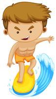Mann auf dem Surfbrett, das auf die Welle surft vektor