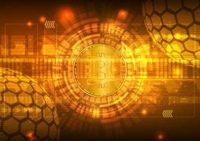 Bitcoin Digital-Währung mit Stromkreis-Zusammenfassungs-Vektor-Hintergrund für Technologie-Geschäft und on-line-Marketing-Konzept vektor