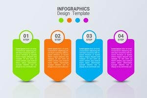 Vier Schritte Infografiken. Vektor-Business-Vorlage.