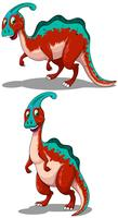 Roter Parasaurolophus in zwei Posen vektor