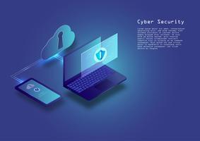 Flacher isometrischer digitaler Internetsicherheitskonzepttechnologie-Vektorhintergrund vektor
