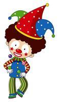 Lycklig clown med färgstark hatt