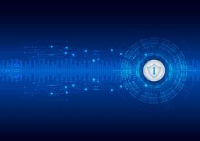 Sicherheitskonzept, geschlossenes Vorhängeschloß auf digitalem, Internetsicherheit, blaue abstrakte hallo Geschwindigkeitsinternet-Technologievektor-Hintergrundillustration. vektor
