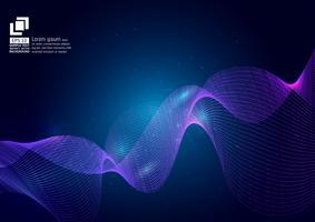 Purpurrote Farbe bewegt Partikel auf blauem Hintergrund, modernes Design des abstrakten Vektorhintergrundes, Vektorillustration wellenartig vektor
