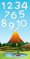 Nummer typsnitt från vulkan rök