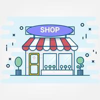 Plattlinjekonststil. design för shoppingbutiksbyggnadsikoner. Online shopping service. vektor