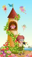 Pojke tar bild av torn med feer