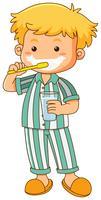 Liten pojke borsta tänder vektor