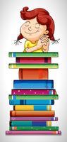 Mädchen und Stapel Bücher vektor