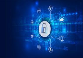 Sicherheitskonzept. Geschlossenes Vorhängeschloss auf Digital. Onlinesicherheit. Blaue abstrakte hallo Geschwindigkeits-Internet-Technologie-Vektor-Hintergrund-Illustration.