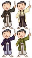 Enkla skisser av män från Asien vektor