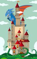 Drache fliegt über Burg vektor