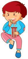 Kleiner Junge, der Popcorn isst und Soda trinkt vektor
