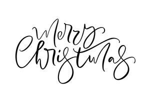 Kalligraphische Hand der frohen Weihnachten gezeichnet, Text beschriftend. Vektorabbildung Weihnachtskalligraphie auf weißem Hintergrund. Lokalisiertes Element für Fahnenpostkarte, Plakatdesigngrußkarte